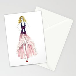 Watercolor fashion illustration catwalk Stationery Cards