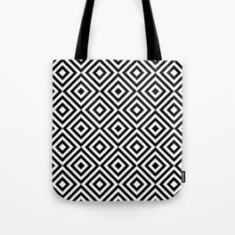 Black & White Monochrome Geometric Diamonds Digital Pattern Tote Bag