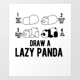 Draw a lazy Panda fun animal step by step painting Art Print