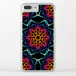 'Bohemian Illusion' Blue Purple Pink Orange Clear iPhone Case