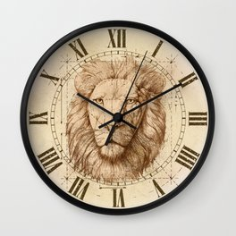 Lion Drawing, Technical Wall Clock