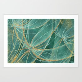 Abstract dandelions flowers with golden streaks and rust spots Art Print