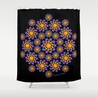 sun and moon Shower Curtains featuring Sun, Moon and Stars by artsytoocreations