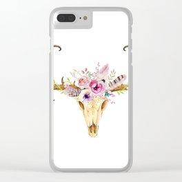 Deer Skull Clear iPhone Case