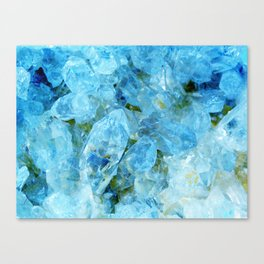 Blue Crystal Geode Art Canvas Print