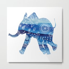 cute baby elephant mandala art Metal Print