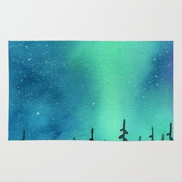"""Wilderness Lights"" Aurora Borealis watercolor landscape painting Rug"