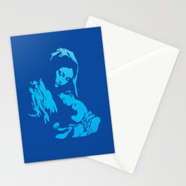 Mother Mary with Jesus Christ in blue Stationery Cards