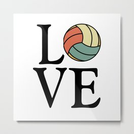 Volleyball Love - Vintage Sport Ball Design Metal Print
