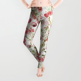 Vintage & Shabby Chic - Pink and White Summer Flowers Garden Leggings