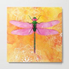 Watercolor Dragonfly Mandalas Pattern Metal Print