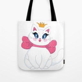 White cat sticker Tote Bag