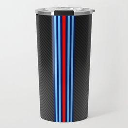 Carbon Racing Stripes Travel Mug