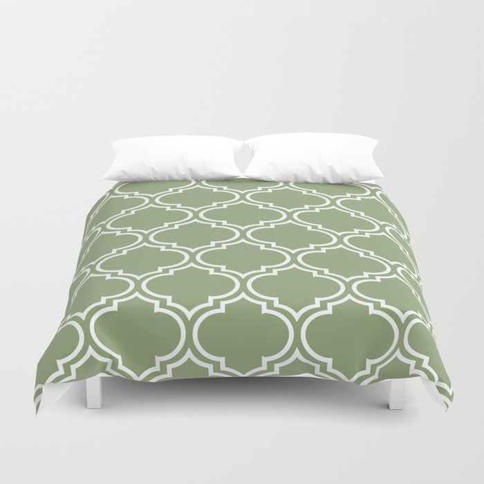 Dark Sage Green Moroccan Lattice Pattern Duvet Cover