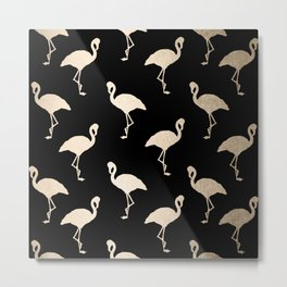 Flamingo Pattern Gold + Black Metal Print