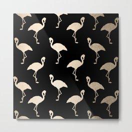 Flamingo Pattern Gold + Black Metal Print