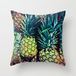 Pineapples in Colorful Bunch Throw Pillow
