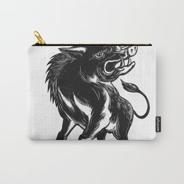 Angry Wild Hog Razorback Scratchboard Carry-All Pouch