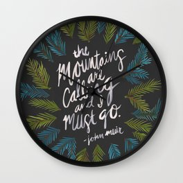 Mountains Calling – Charcoal Wall Clock