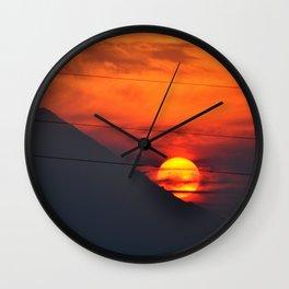 SUNSET OVER MOUNT HOOD Wall Clock