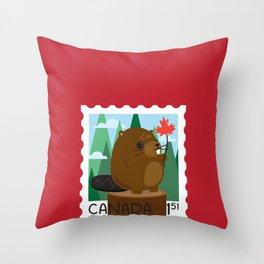 Beaver Stamp Throw Pillow