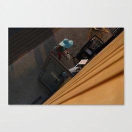 Coffee addict hat woman, street photography, colorful, street scene, urban, photography Canvas Print