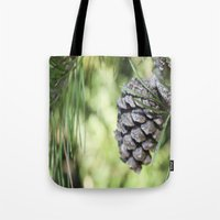 rileigh smirl Tote Bags featuring Pinecone by Rileigh Smirl
