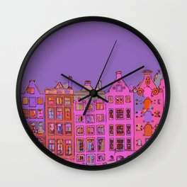 Canal houses Amsterdam the Netherlands Wall Clock