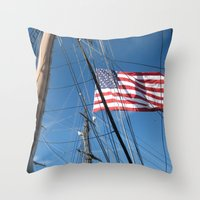 flag Throw Pillows featuring Flag by courtney2k ⚓ design™