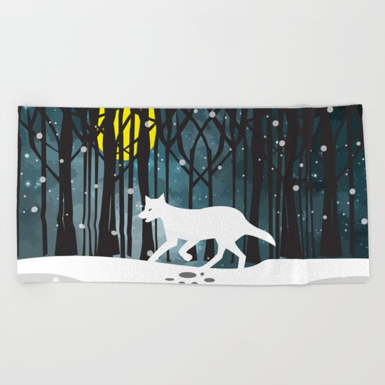 White Wolf at Midnight Beach Towel