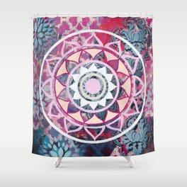 Mixed Media Mandala - Dark Shower Curtain