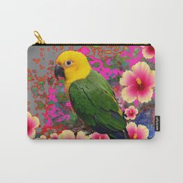 YELLOW HEADED GREEN PARROT PINK HIBISCUS GREY FLORAL Carry-All Pouch