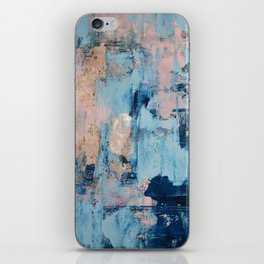 Sunbeam: a pretty abstract painting in pink, blue, and gold by Alyssa Hamilton Art iPhone Skin