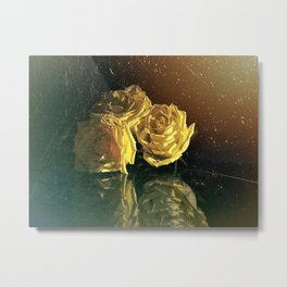 Yellow Vintage Roses Metal Print
