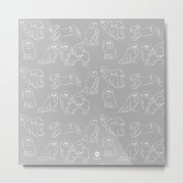 Nordic Chic White Tibbies on Light Grey Minimalist Outline Pattern Metal Print