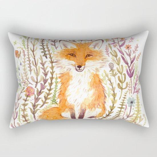 Fox and Flowers II Rectangular Pillow
