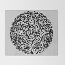 Mayan Calendar // Light Grey Throw Blanket
