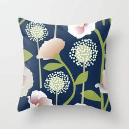 Snowballs and Pink Flowers Throw Pillow