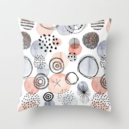 Watercolor Circles | Coral and Grey Palette Throw Pillow