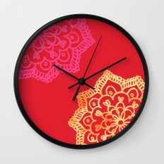 Happy bright lace flower - red Wall Clock