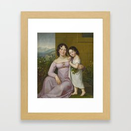 GERMAN MASTER 1st half of the 19th century , Mother and Daughter in front of a South American Landsc Framed Art Print