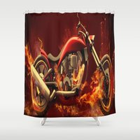 motorbike Shower Curtains featuring FIRE MOTORBIKE by Acus