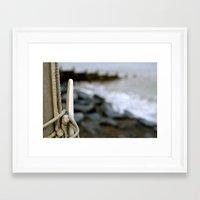 hook Framed Art Prints featuring hook by double U double O