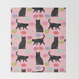Black cat donuts cat breeds cat lover pattern art print cat lady must have Throw Blanket