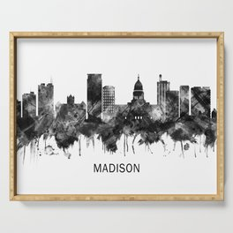 Madison Wisconsin Skyline BW Serving Tray