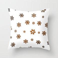 Snowflakes (Bronze and Black on White) Throw Pillow