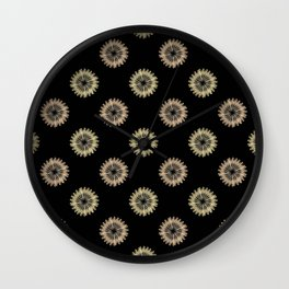 blooming floral pattern on black Wall Clock