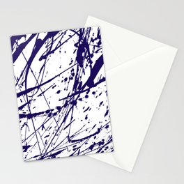 Modern abstract navy blue watercolor brushstrokes pattern Stationery Cards