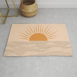 Modern abstract aesthetic background with sun and sea waves, sunset and sunrise illustration Rug