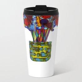 Geometric Flowers Metal Travel Mug